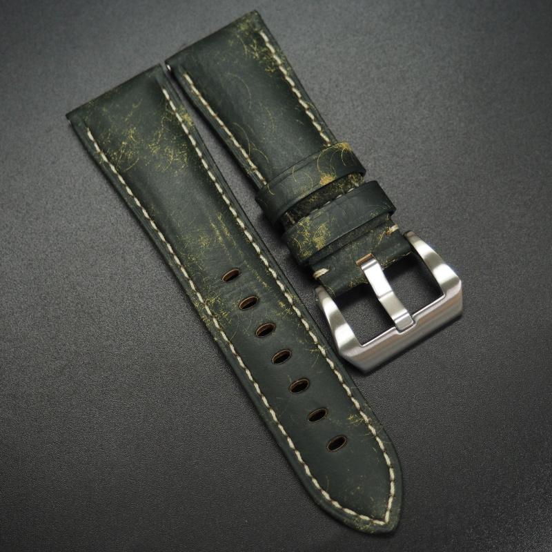 24/26mm 綠色意大利牛皮錶帶 適合Panerai