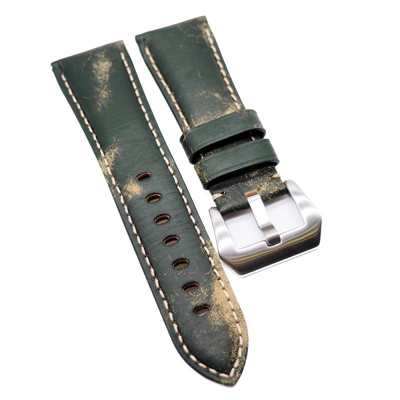 24mm, 26mm 綠色意大利牛皮錶帶 適合Panerai