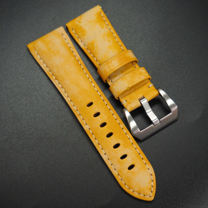 26mm 黃色意大利牛皮錶帶 適合Panerai