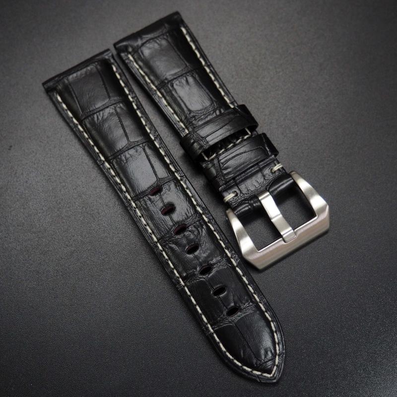 26mm 黑色鱷魚紋牛皮錶帶 適合Panerai