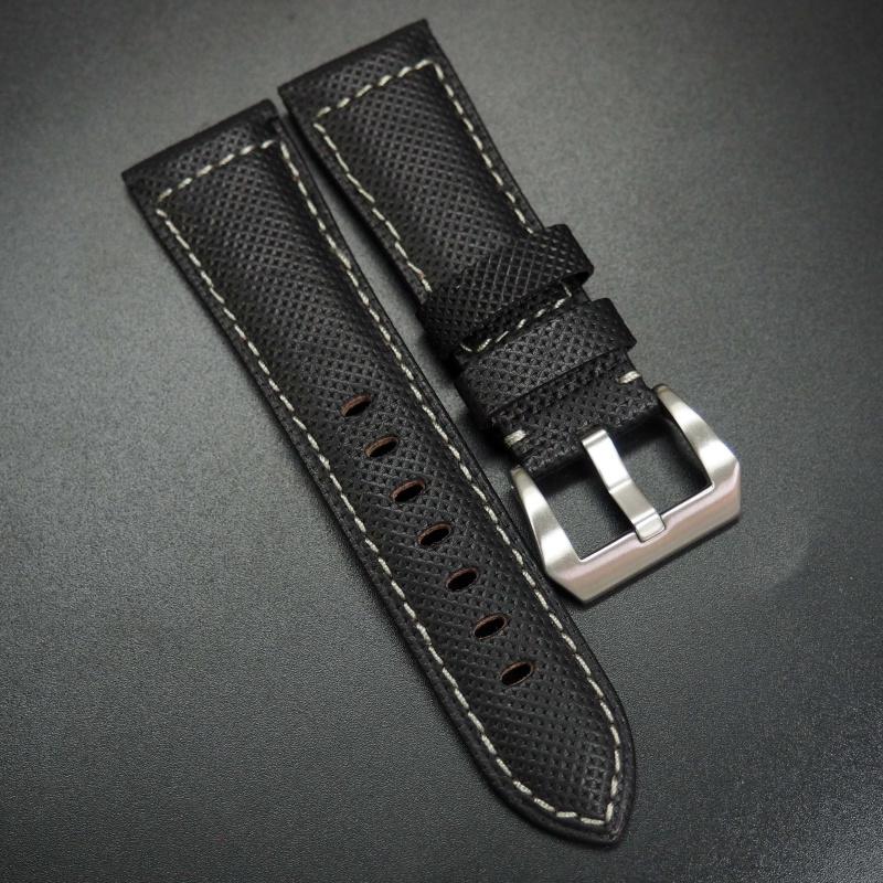 26mm 黑色牛皮配白縫線錶帶 適合Panerai