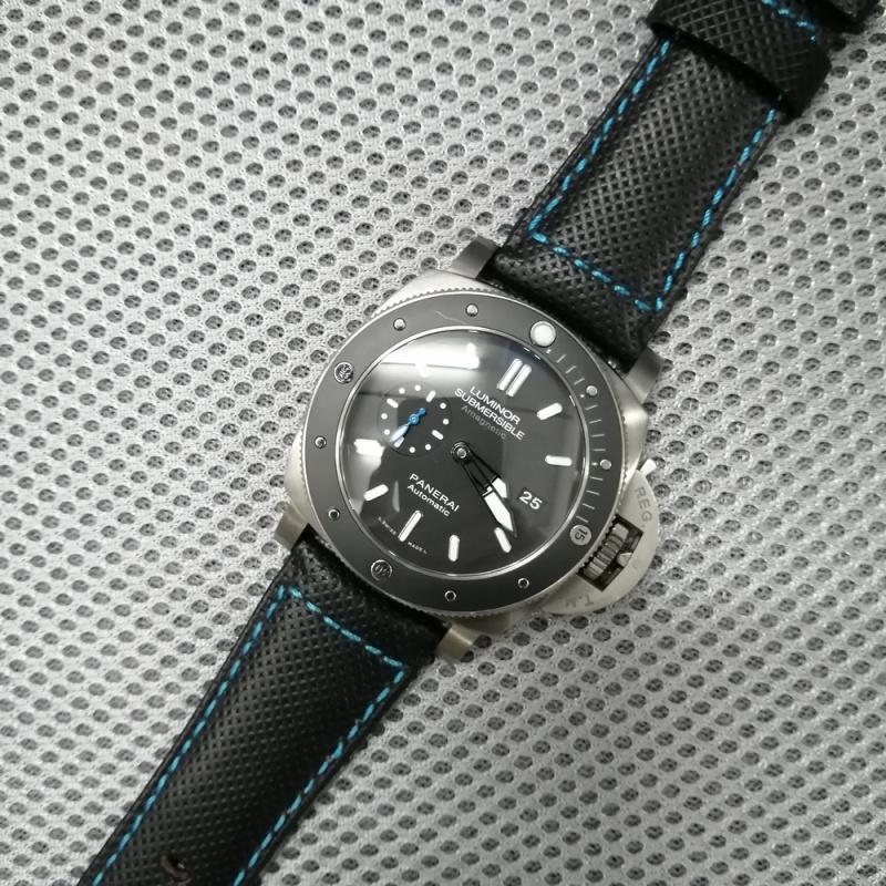 26mm 黑色牛皮配藍縫線錶帶 適合Panerai