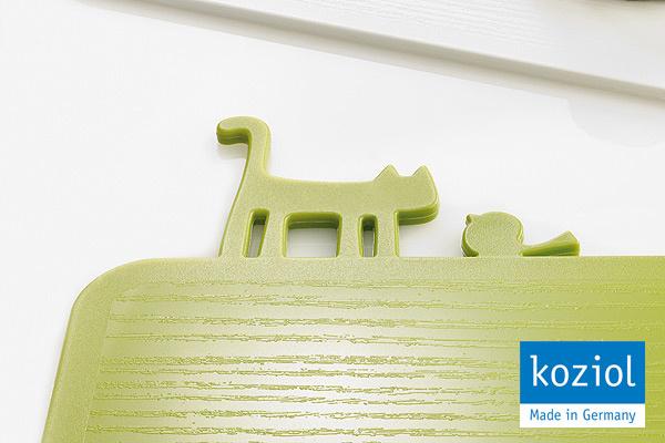 KOZIOL|貓咪&小鳥防滑砧板 (綠)|德國製造