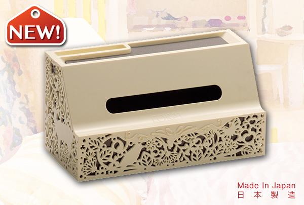 高雅花紋紙巾盒 (卡其色)|日本製造