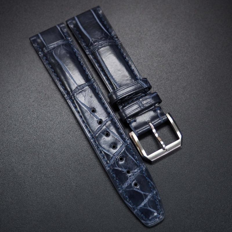 20mm 牛仔藍鱷魚皮錶帶 適合IWC