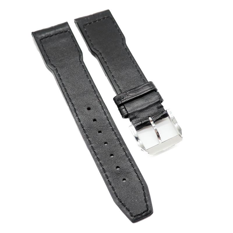 21mm 黑色 IWC Pilot Style 鱷魚皮代用錶帶