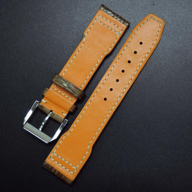 21mm 飛行員土黃橙鱷魚皮錶帶 適合IWC