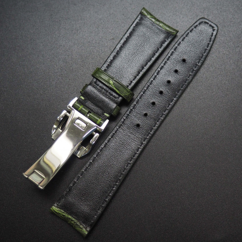 22mm 森林綠鱷魚皮錶帶配摺扣 適合IWC Portugieser