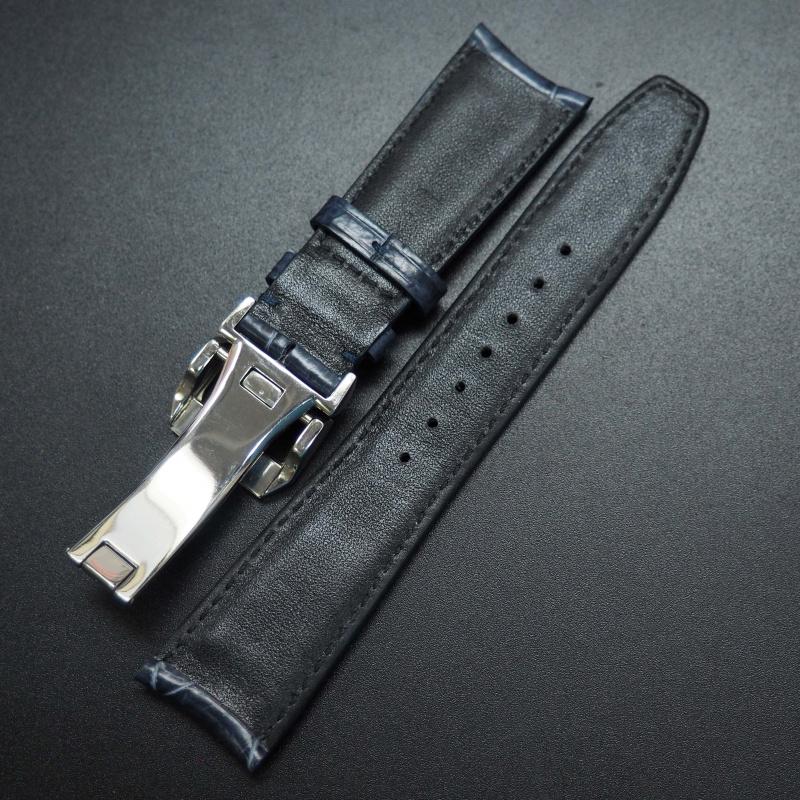 22mm 深藍色鱷魚皮錶帶配摺扣 適合IWC Portugieser