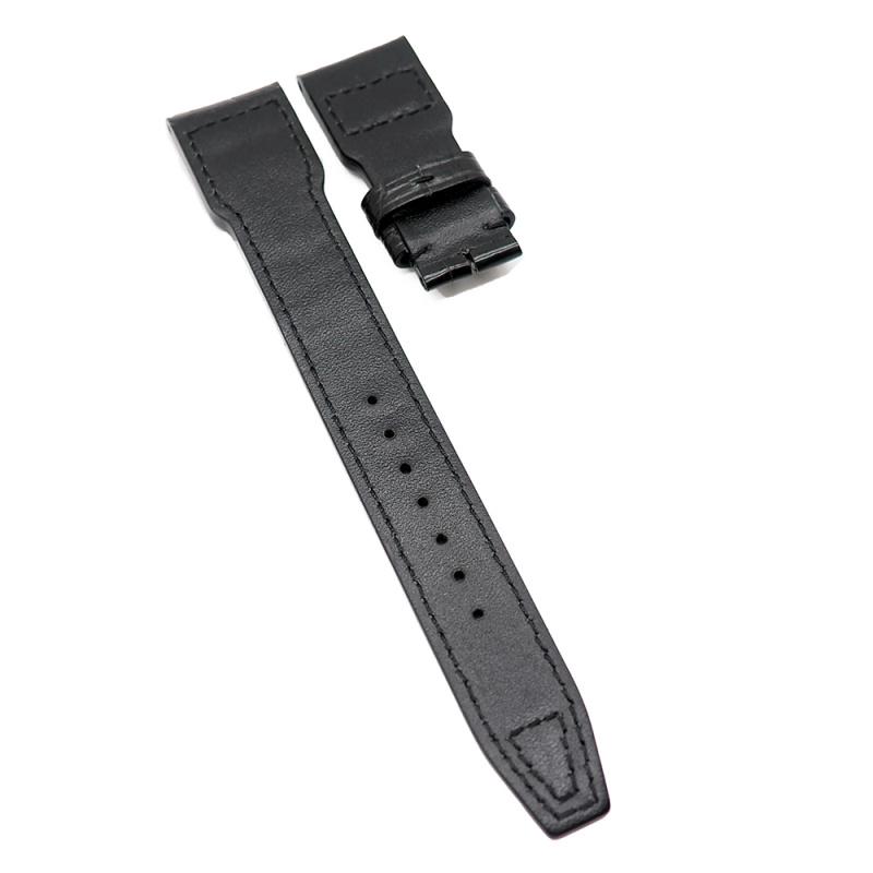22mm 黑色 IWC Big Pilot 鱷魚皮代用錶帶