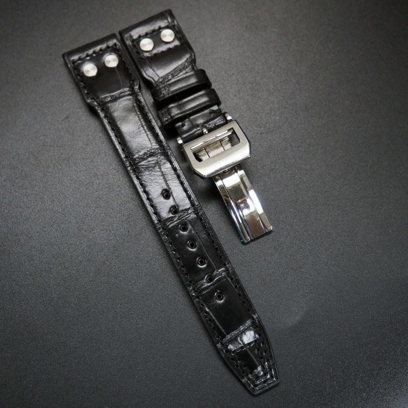 22mm 大飛行員風黑色鱷魚皮錶帶 適合IWC Pilot
