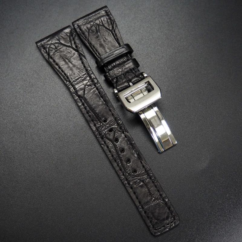 24mm 黑色鱷魚皮錶帶配摺扣 適合IWC