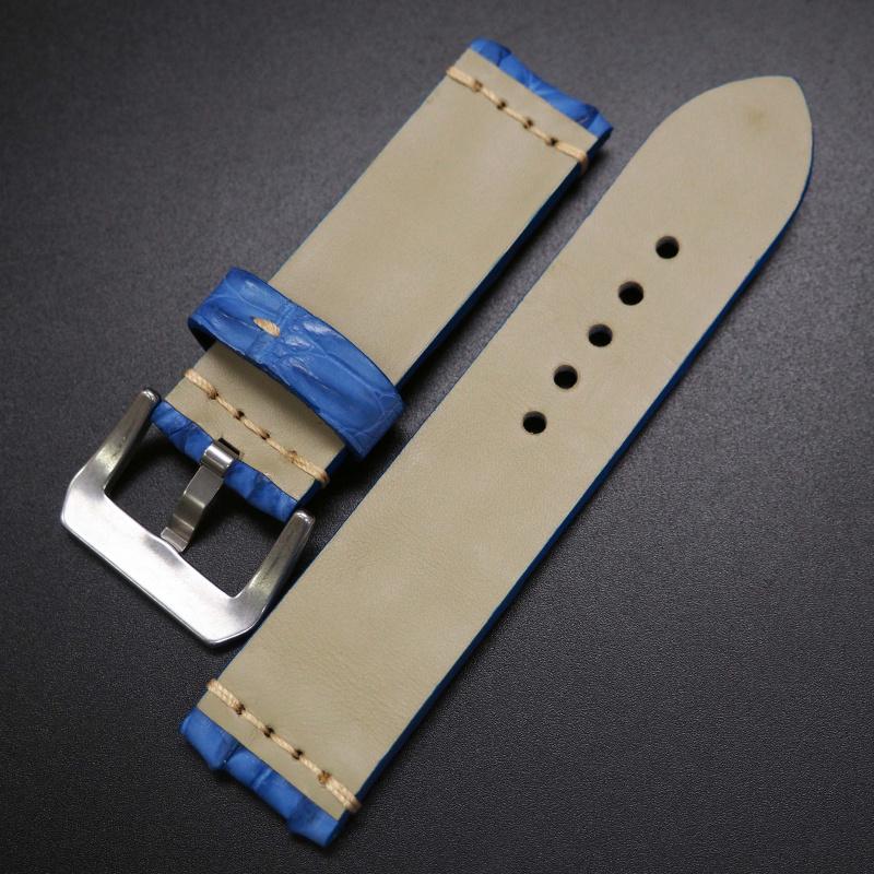 24mm 經典碧藍角紋鱷魚皮手工錶帶 適合Panerai
