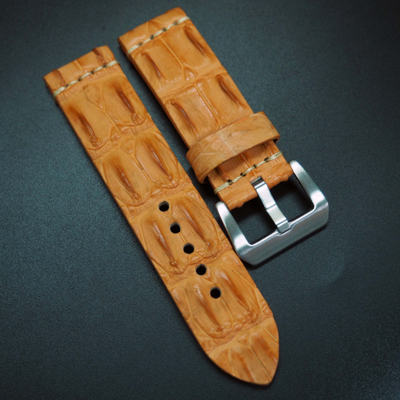 24mm 經典橙色角紋鱷魚皮手工錶帶 適合Panerai