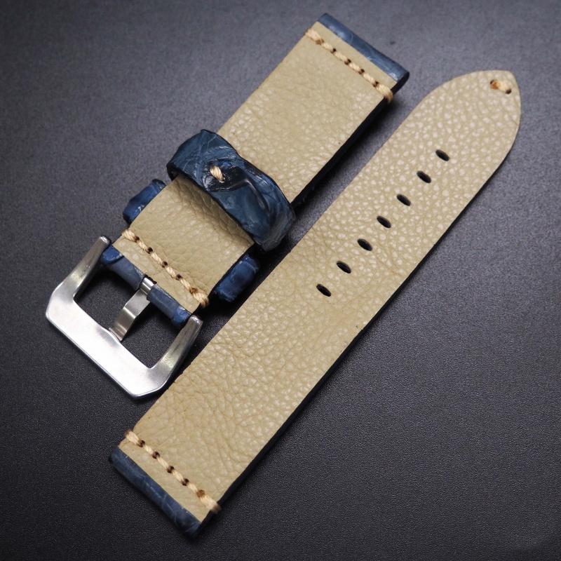24mm 經典空軍藍角紋鱷魚皮手工錶帶 適合Panerai