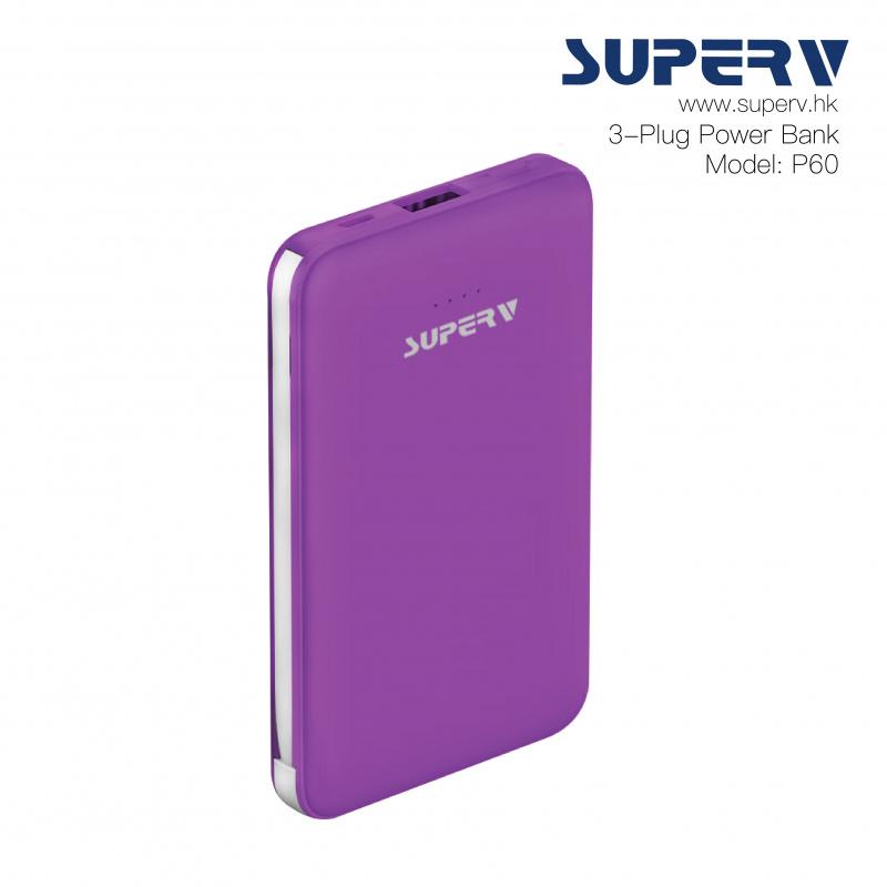 SuperV P60 6000mAh 3插頭移動電源 (Type-C/Lightning/USB) [4色]