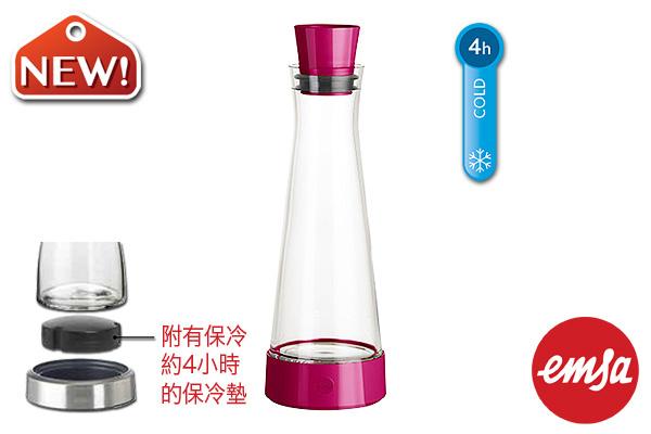 EMSA|帶冷卻墊玻璃水瓶 (紅莓色/1.0L)|德國品牌
