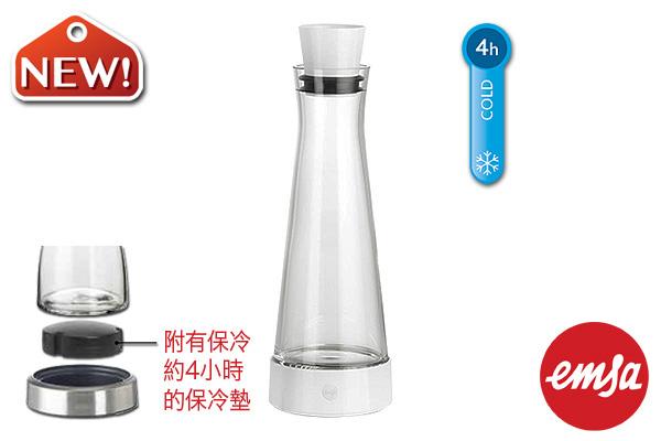 EMSA|帶冷卻墊玻璃水瓶 (白/1.0L)|德國品牌