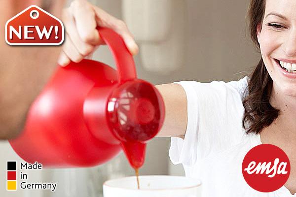 EMSA SAMBA玻璃膽真空保溫壼 (紅/1.0L) 德國製造