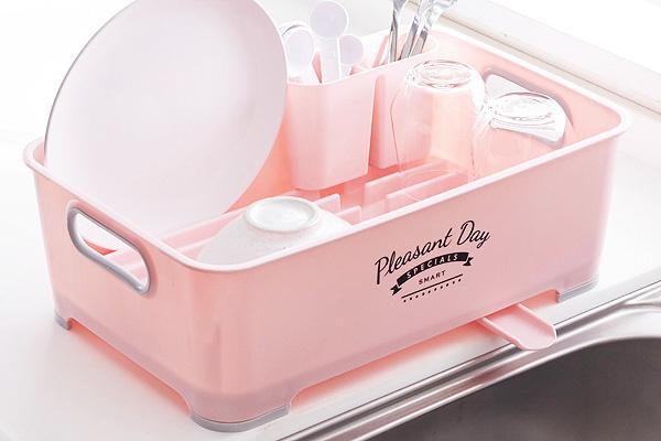 時尚優質餐具風乾架 (粉紅/日本製造)
