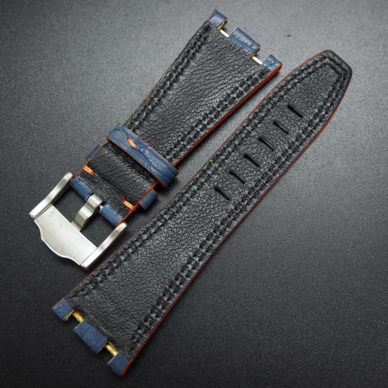 28mm 優質深藍色配橙車線鱷魚皮錶帶 適合42mm Audemars Piguet Royal Oak Offshore