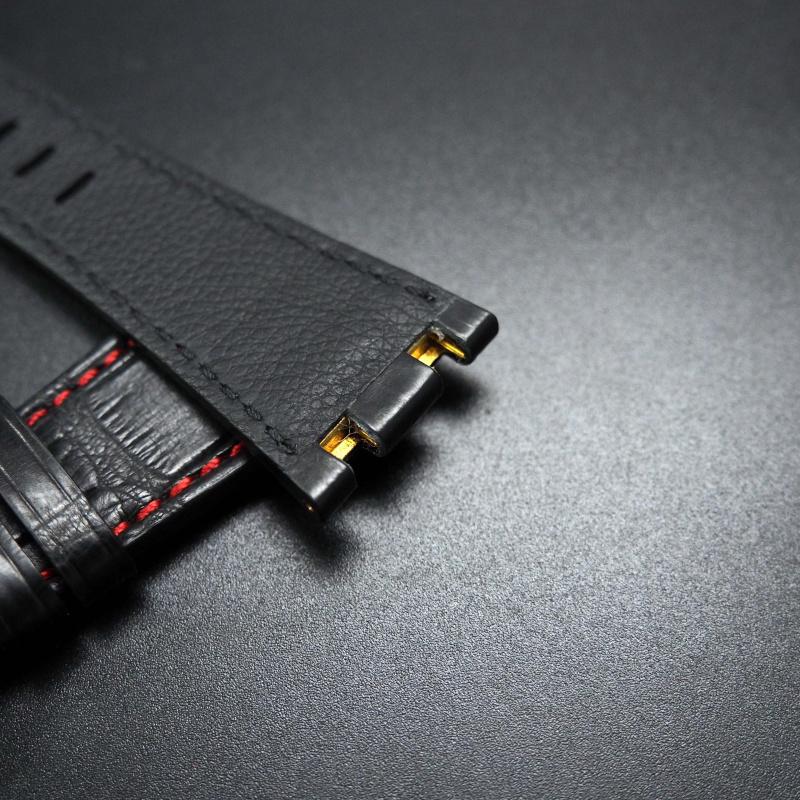 28mm 優質黑色配紅車線鱷魚皮錶帶 適合42mm Audemars Piguet Royal Oak Offshore