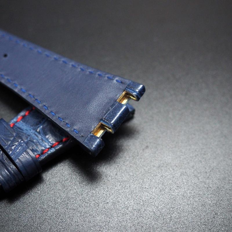 28mm 優質海軍藍配紅車線鱷魚皮錶帶 適合42mm Audemars Piguet Royal Oak Offshore