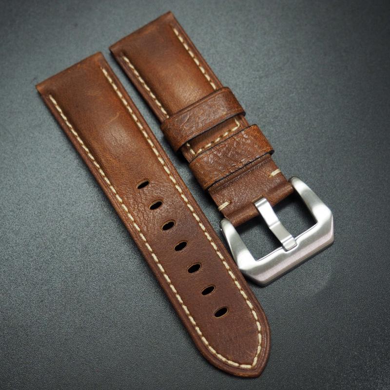 24mm 棕色牛皮錶帶 適合Panerai