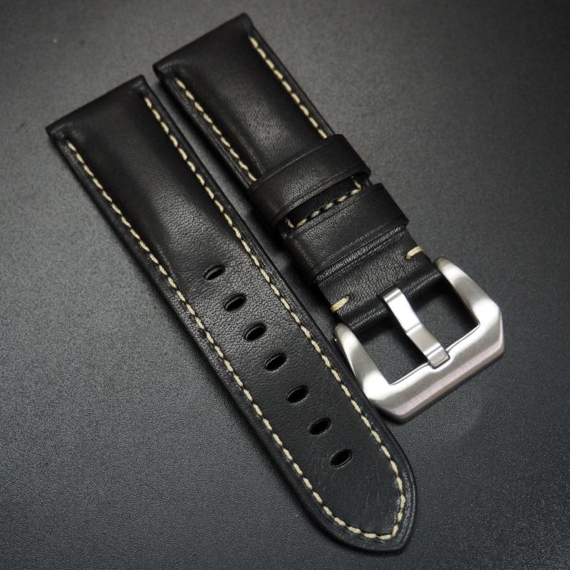 24mm 黑色牛皮錶帶 適合Panerai