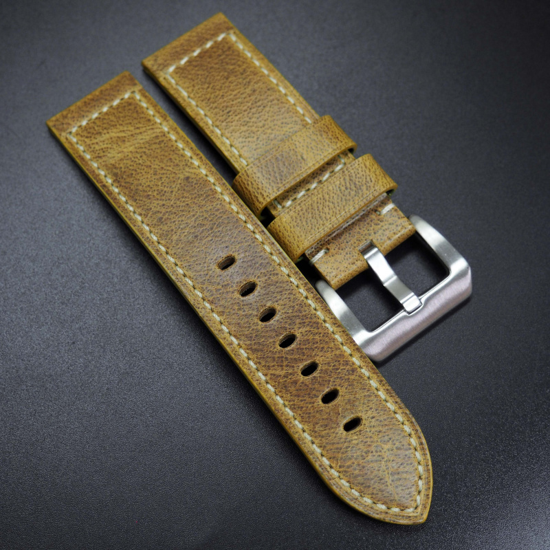 24mm 玉米黃色牛皮錶帶 適合Panerai