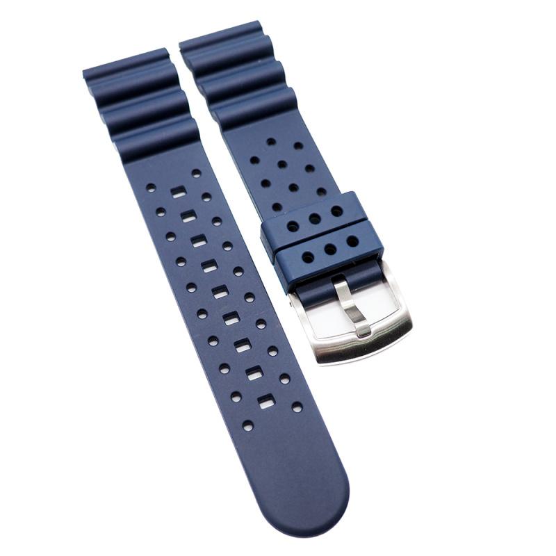22mm 軍藍色氟碳橡膠快拆錶帶 適合Seiko