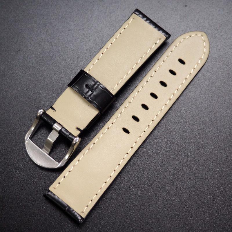 22mm 黑色鱷魚紋牛皮錶帶 適合Panerai