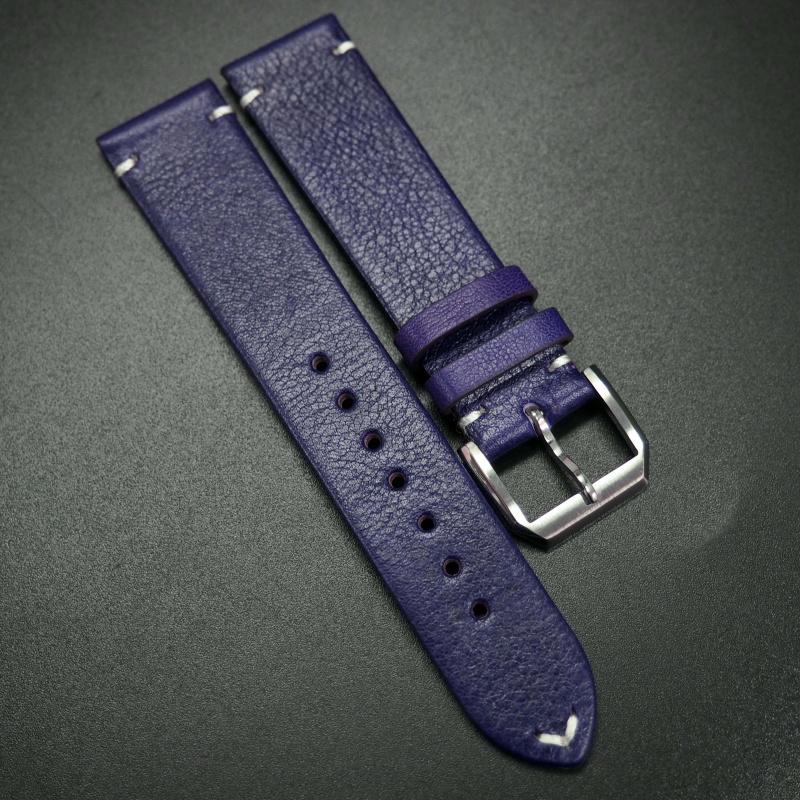 20mm 紫羅蘭色復古牛皮錶帶 適合Rolex, Omega, IWC etc