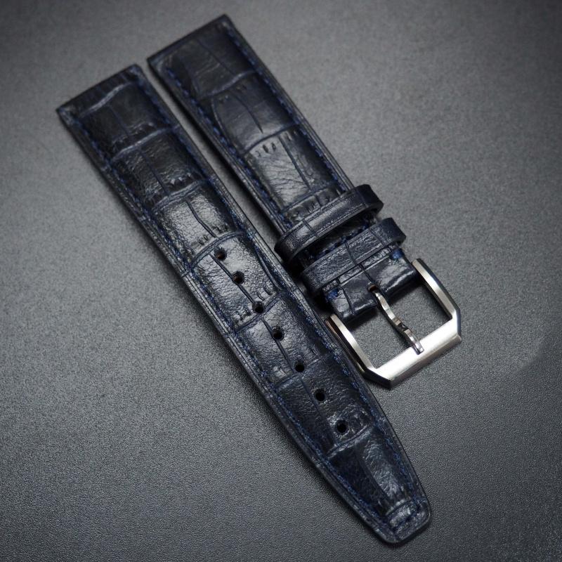 20mm, 21mm, 22mm IWC 牛仔藍鱷魚紋牛皮代用錶帶
