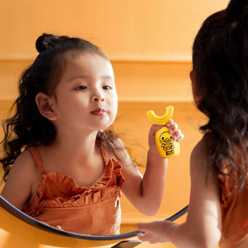 ASHMORE 兒童u型電動牙刷 核桃小黃鴨款