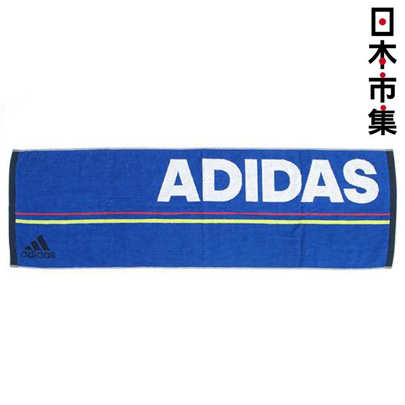 日版 Adidas【藍色黑邊】純棉運動毛巾(469) 34x105cm【市集世界 - 日本市集】