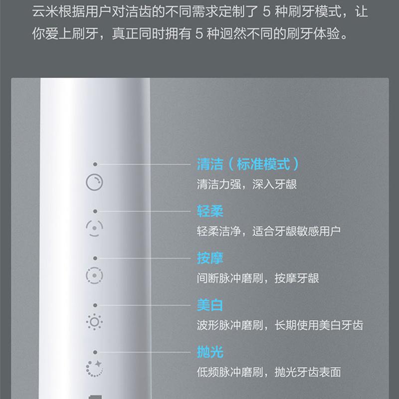 小米有品 雲米(VIOMI) 聲波電動牙刷 USB充電/31000次震動/90天續航/5種專業模式