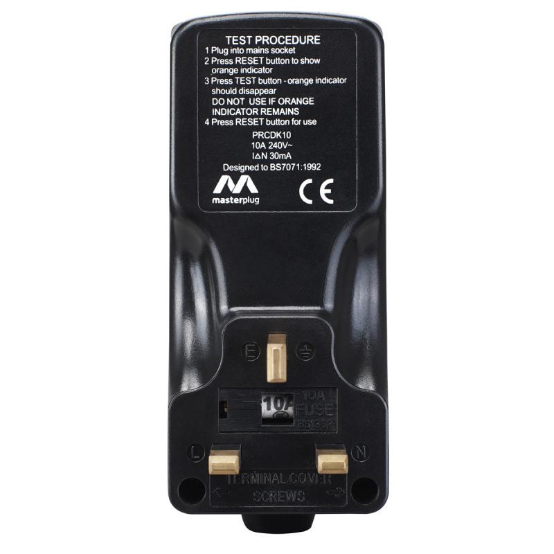 英國Masterplug - RCD 漏電保護插頭 13A保險絲 英式三腳 剩餘電流裝置 接地故障斷路器 黑色 PRCDKB-MP