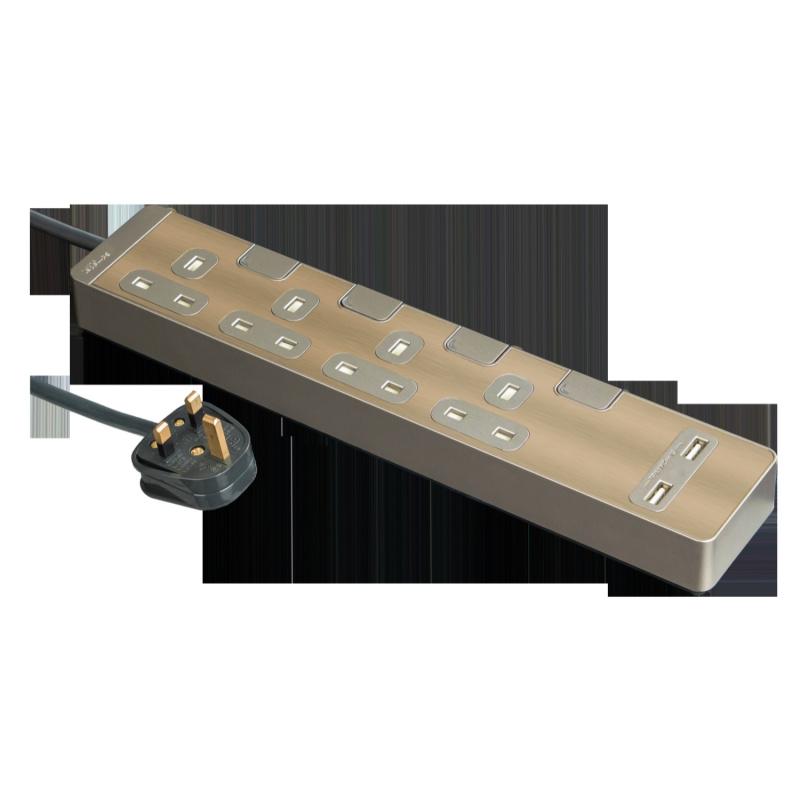 施耐德 Schneider TSH34U_3_GH_C5 13A 四位獨立開關安全插座 連兩位USB充電插座(連3米線) 古銅金 香港行貨