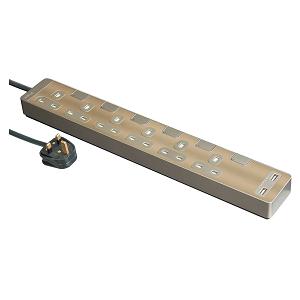 施耐德 Schneider TSH36U_3_GH_C5 13A 六位獨立開關安全插座 連兩位USB充電插座(連3米線) 古銅金 香港行貨