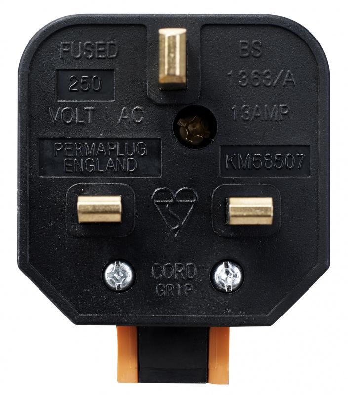 英國Masterplug - Permaplug 重型英式三腳插頭13A保險絲 橙/黑2色可選 HDPT13O HDPT13B