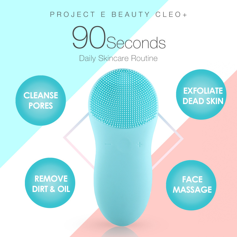 Project E Beauty CLEO+ Sonic Facial Cleanser | 矽膠深層潔面去角質音波振動雙頭洗面刷