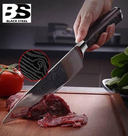 BLACK STEEL - 日式鍛打花鋼廚刀 (8吋)