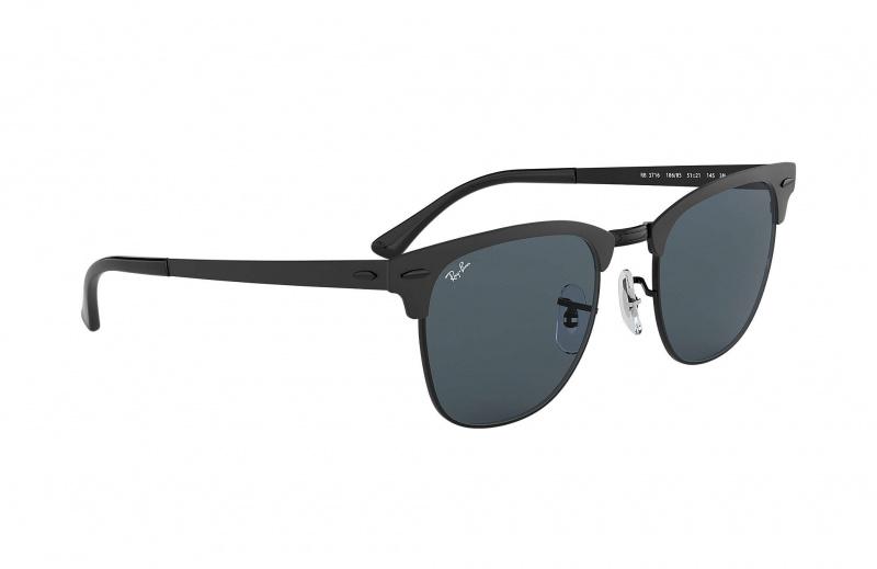 Ray-Ban RB3716 186/R5 Clubmaster Metal 太陽眼鏡 | 磨砂黑鏡框及藍色經典鏡片
