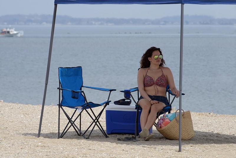 戶外沙灘露營摺合椅 (淺藍色)