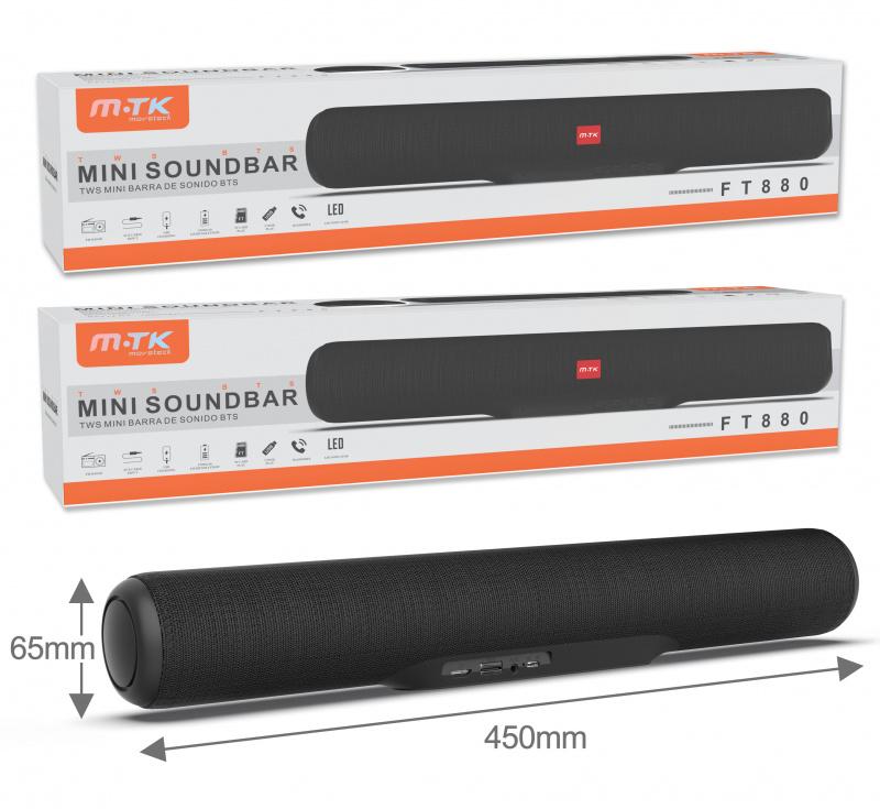 MTK FT880 TWS BT 5.0 Mini Sound Bar 大輸出 勁低音 FM TF Card Aux In, 5W 啦叭 Sound Bar