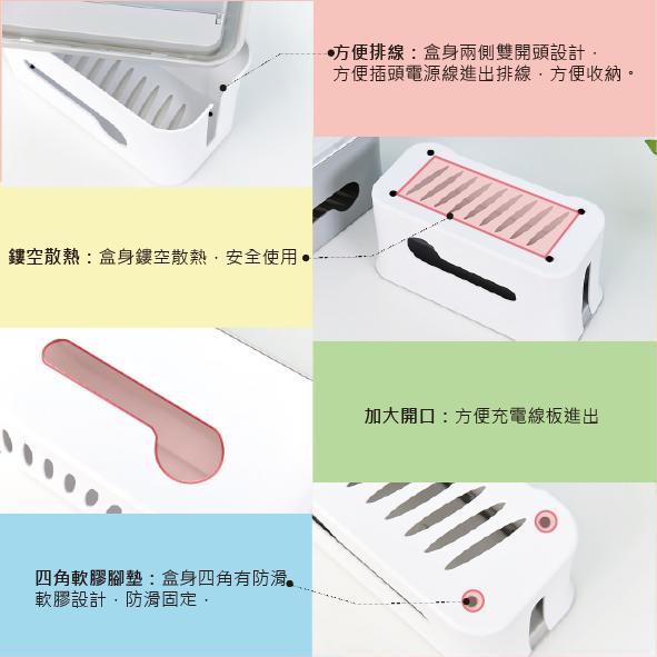 『上下分離式電源線插座收納盒』集線盒 電線收納盒 電腦線整理盒 網路線收線盒 數據線整理盒 桌面插線板盒 插線板
