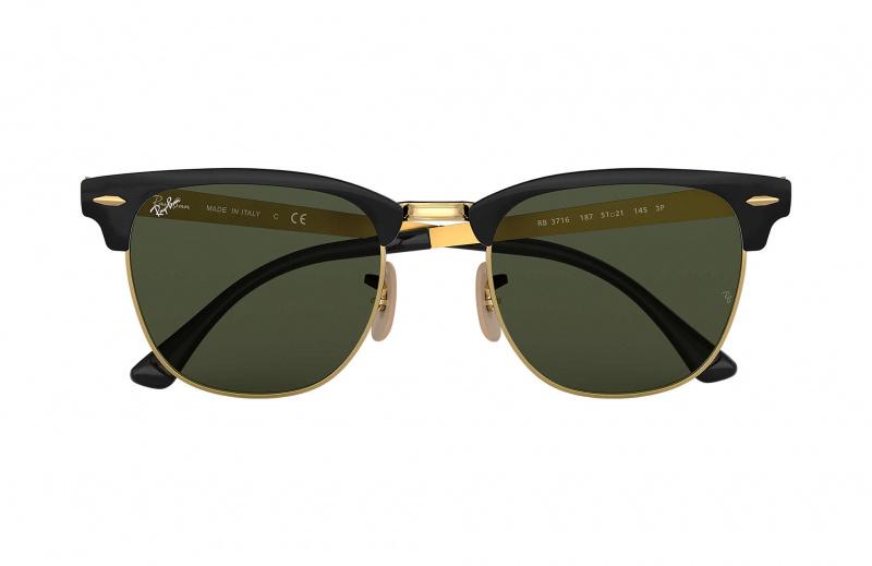Ray-Ban RB3716 187 Clubmaster Metal 太陽眼鏡 | 光黑鏡框及綠色經典鏡片