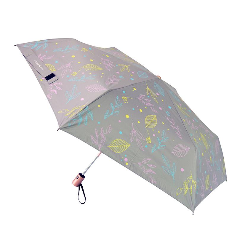 F-Seasons超潑水降温自動傘(綠葉圖案) 輕量