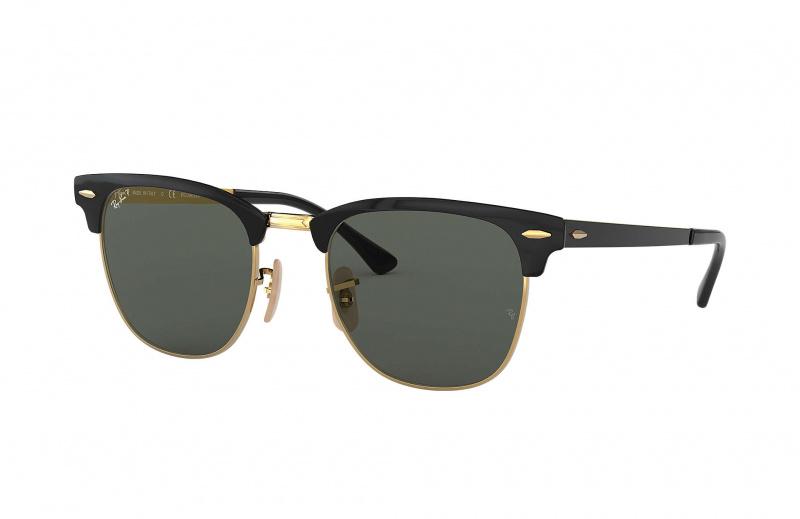 Ray-Ban RB3716 187/58 Clubmaster Metal 太陽眼鏡 | 黑色鏡框及綠色經典偏光鏡片